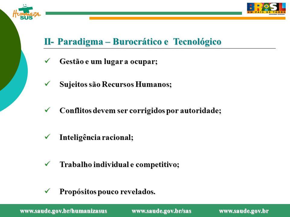 II- Paradigma – Burocrático e Tecnológico