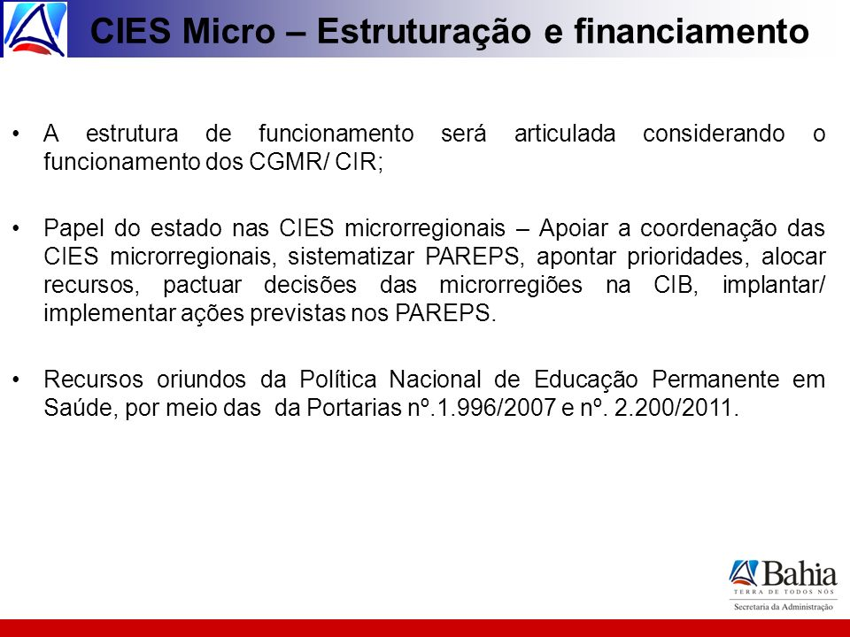 CIES Micro – Estruturação e financiamento