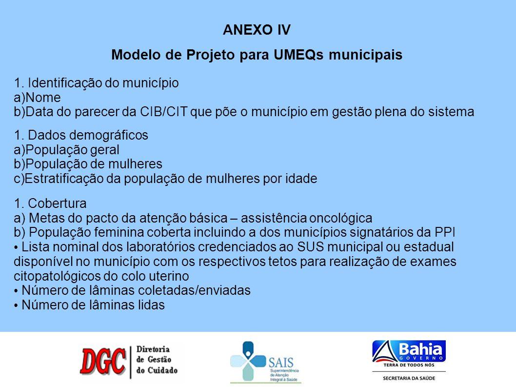 Modelo de Projeto para UMEQs municipais