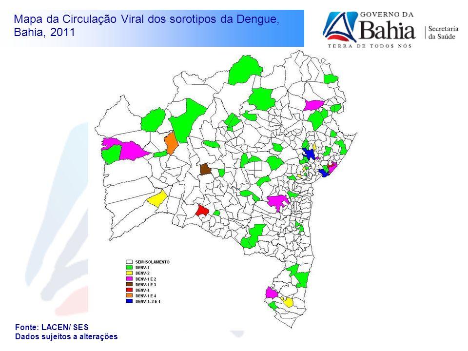Mapa da Circulação Viral dos sorotipos da Dengue, Bahia, 2011