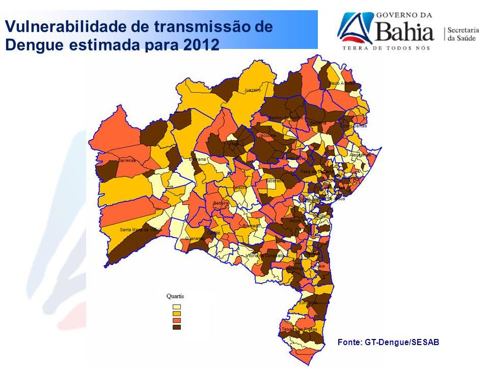 Vulnerabilidade de transmissão de Dengue estimada para 2012