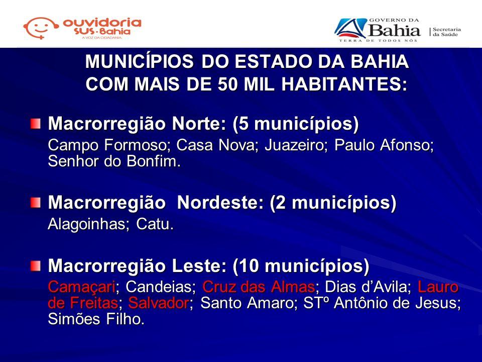 MUNICÍPIOS DO ESTADO DA BAHIA COM MAIS DE 50 MIL HABITANTES:
