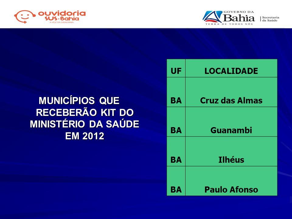 MUNICÍPIOS QUE RECEBERÃO KIT DO MINISTÉRIO DA SAÚDE EM 2012