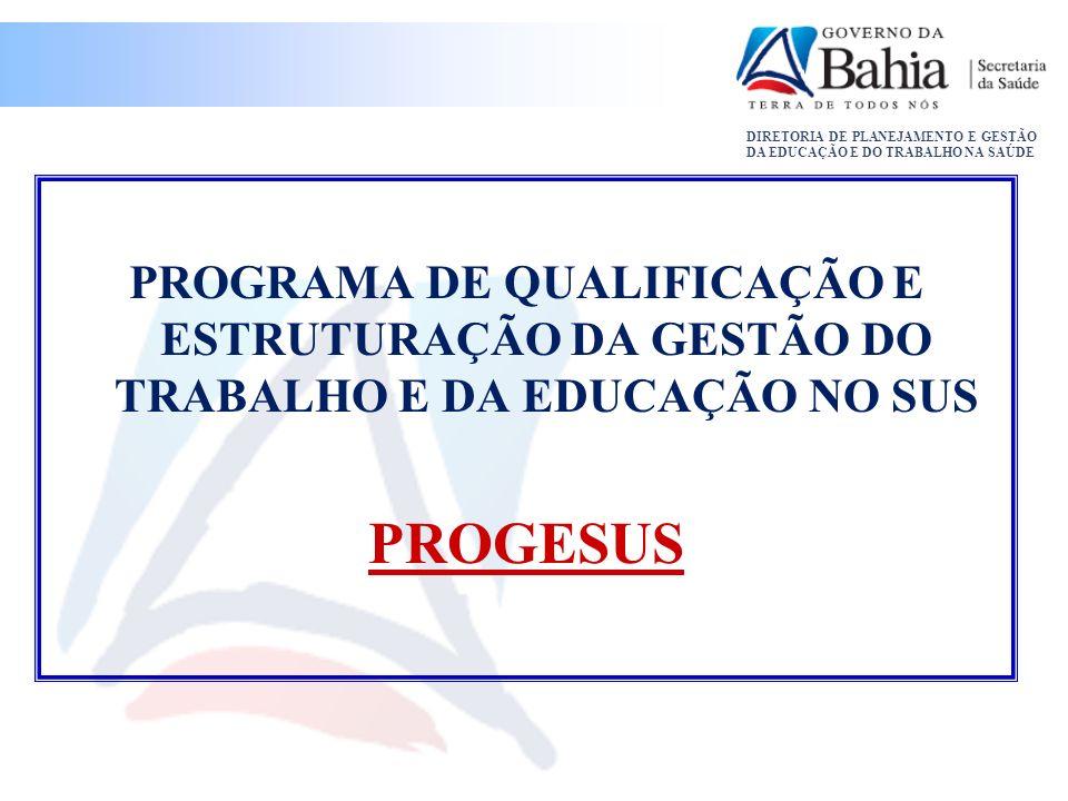 PROGRAMA DE QUALIFICAÇÃO E ESTRUTURAÇÃO DA GESTÃO DO TRABALHO E DA EDUCAÇÃO NO SUS