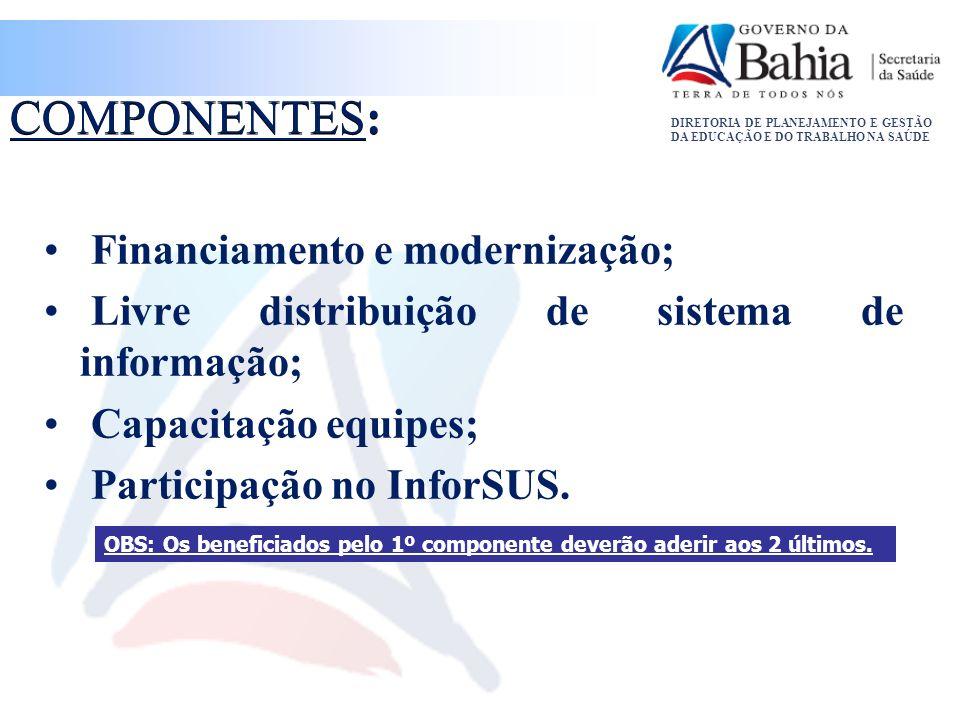COMPONENTES: Financiamento e modernização;