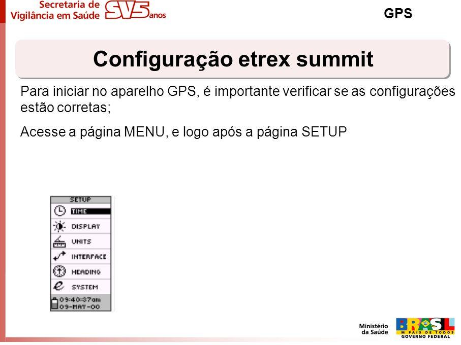 Configuração etrex summit