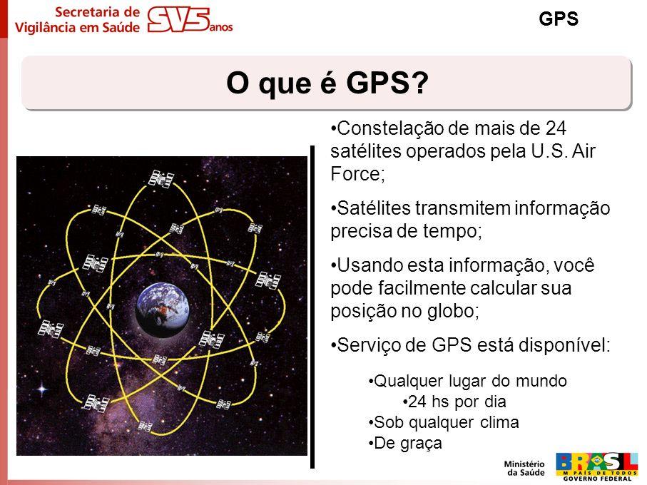GPS O que é GPS Constelação de mais de 24 satélites operados pela U.S. Air Force; Satélites transmitem informação precisa de tempo;