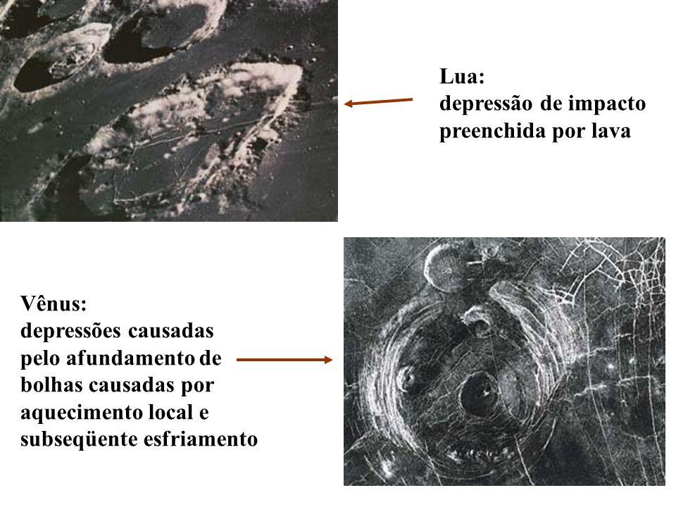 Lua:depressão de impacto. preenchida por lava. Vênus: depressões causadas. pelo afundamento de. bolhas causadas por.