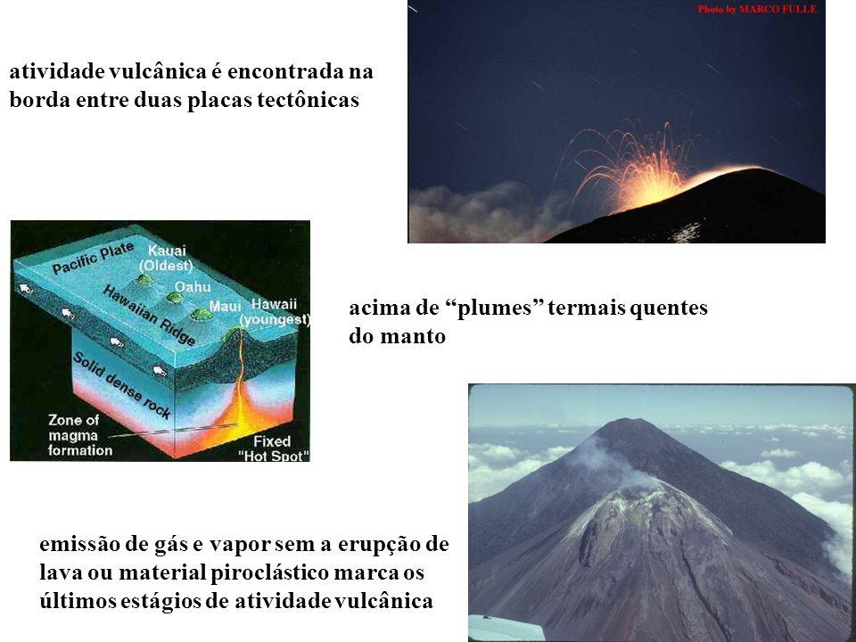 atividade vulcânica é encontrada na borda entre duas placas tectônicas