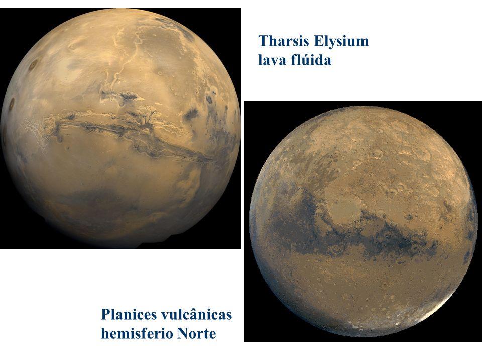 Tharsis Elysium lava flúida Planices vulcânicas hemisferio Norte