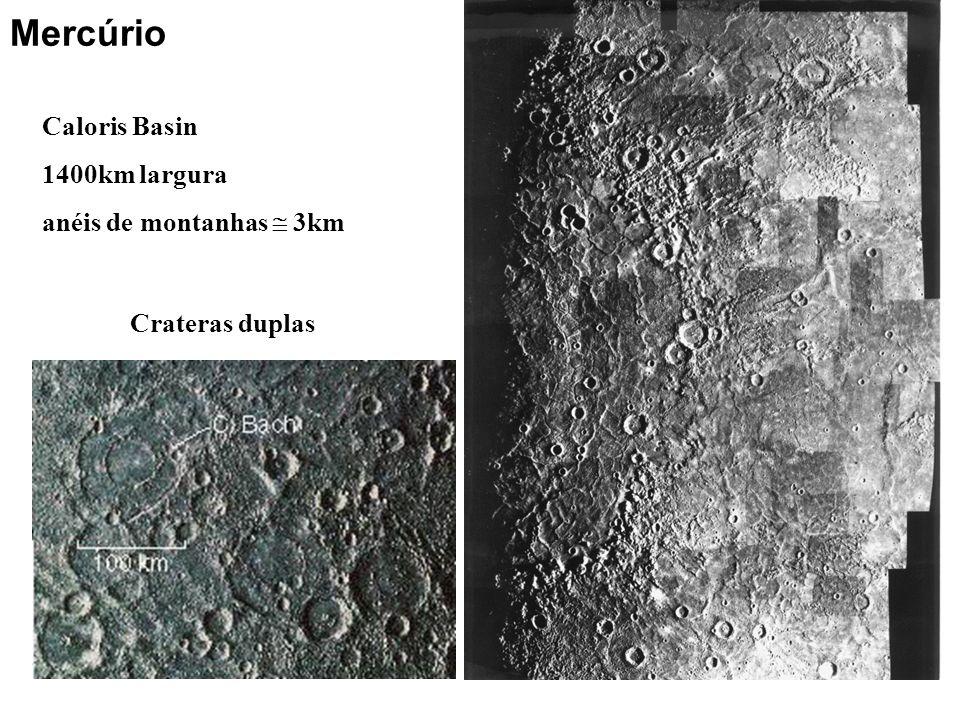 Mercúrio Caloris Basin 1400km largura anéis de montanhas  3km