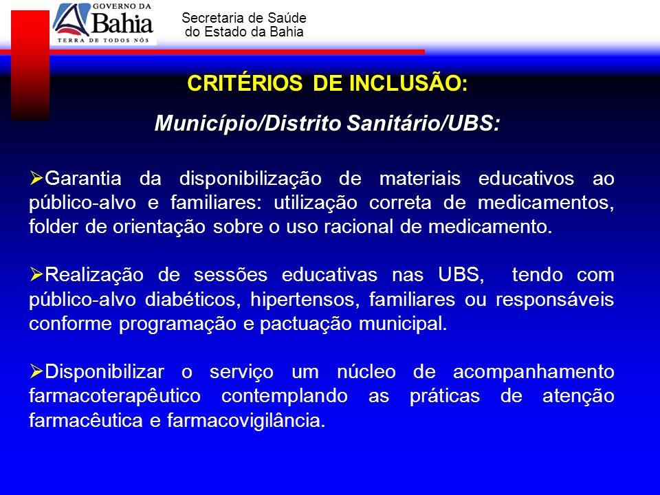 CRITÉRIOS DE INCLUSÃO: Município/Distrito Sanitário/UBS:
