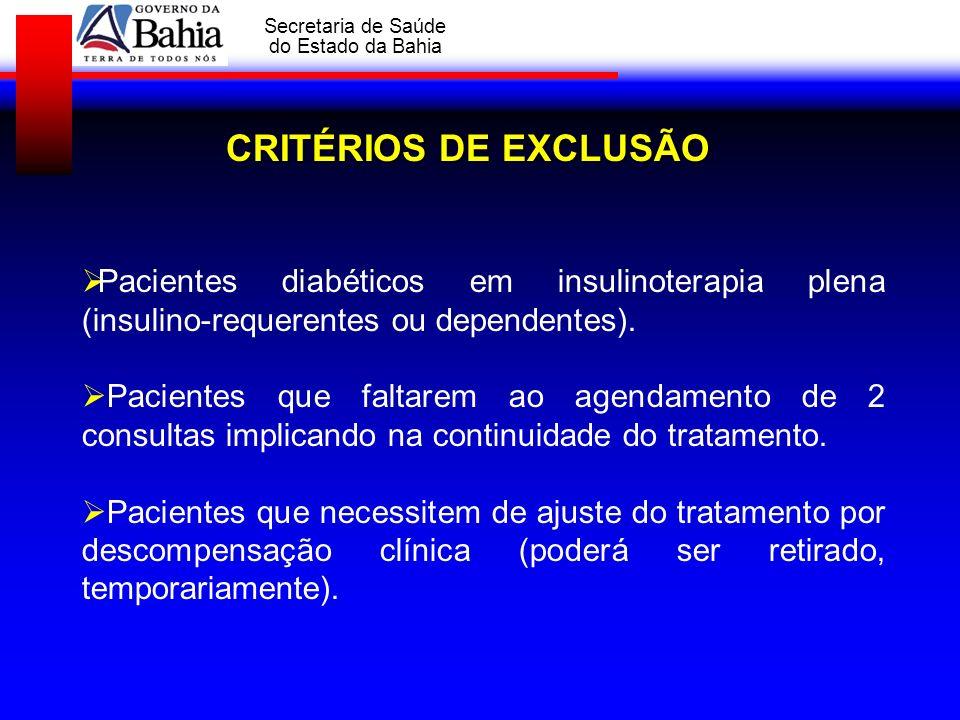 CRITÉRIOS DE EXCLUSÃOPacientes diabéticos em insulinoterapia plena (insulino-requerentes ou dependentes).