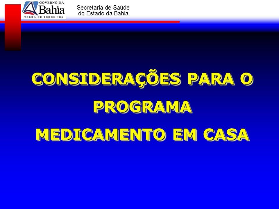 CONSIDERAÇÕES PARA O PROGRAMA MEDICAMENTO EM CASA