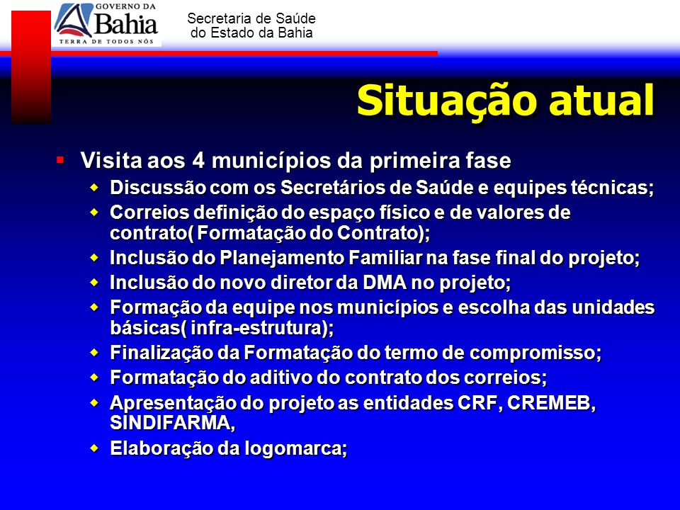 Situação atual Visita aos 4 municípios da primeira fase