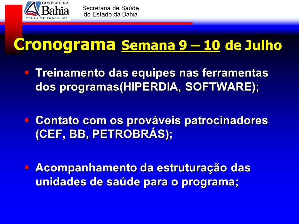 Cronograma Semana 9 – 10 de Julho