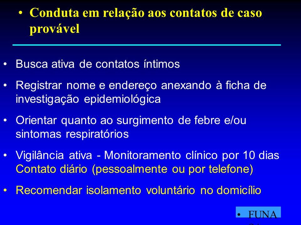 Conduta em relação aos contatos de caso provável