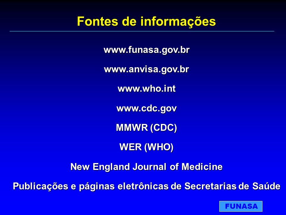 Fontes de informações www.funasa.gov.br www.anvisa.gov.br www.who.int