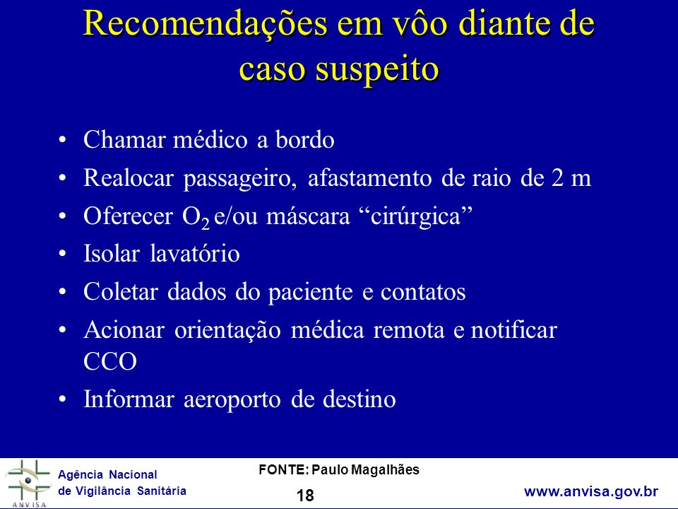Recomendações em vôo diante de caso suspeito