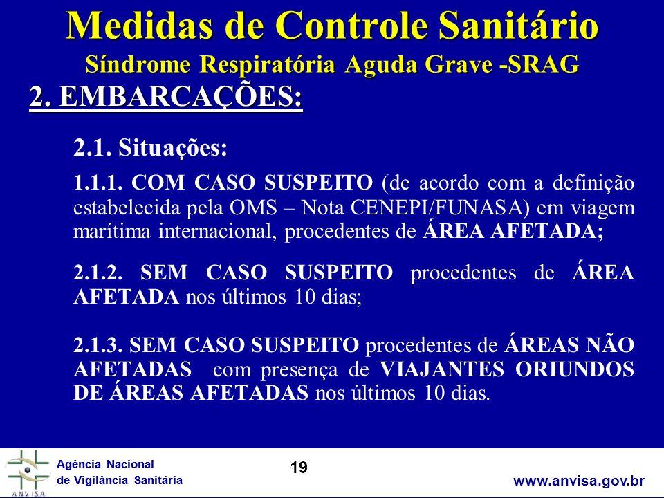 Medidas de Controle Sanitário Síndrome Respiratória Aguda Grave -SRAG
