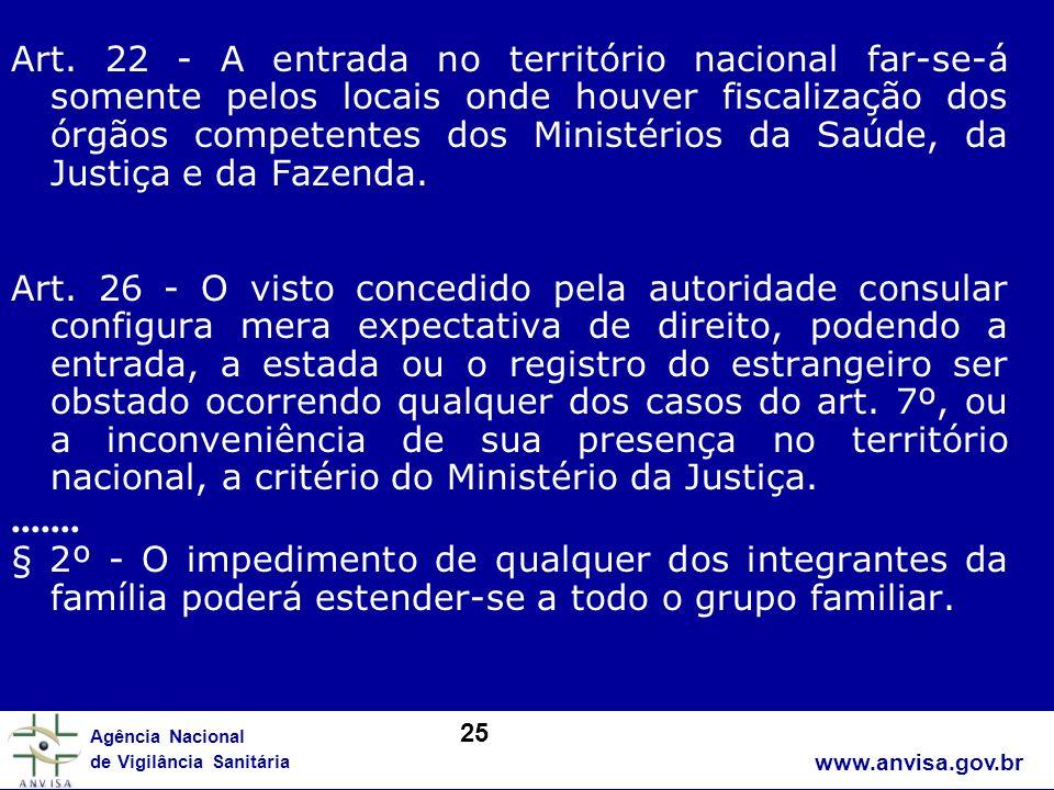 Art. 22 - A entrada no território nacional far-se-á somente pelos locais onde houver fiscalização dos órgãos competentes dos Ministérios da Saúde, da Justiça e da Fazenda.