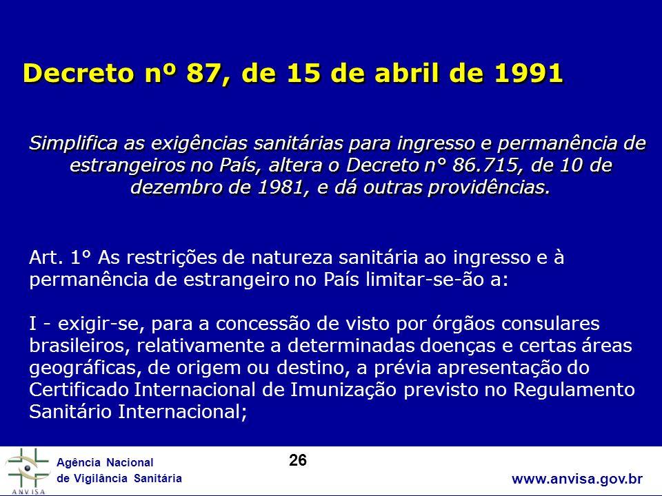Decreto nº 87, de 15 de abril de 1991