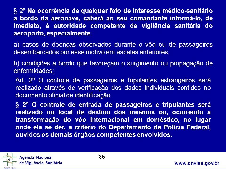 § 2º Na ocorrência de qualquer fato de interesse médico-sanitário a bordo da aeronave, caberá ao seu comandante informá-lo, de imediato, à autoridade competente de vigilância sanitária do aeroporto, especialmente: