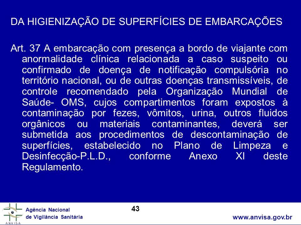 DA HIGIENIZAÇÃO DE SUPERFÍCIES DE EMBARCAÇÕES