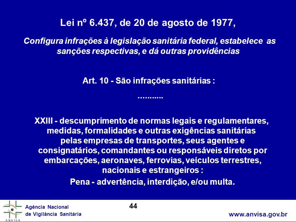 Lei nº 6.437, de 20 de agosto de 1977,