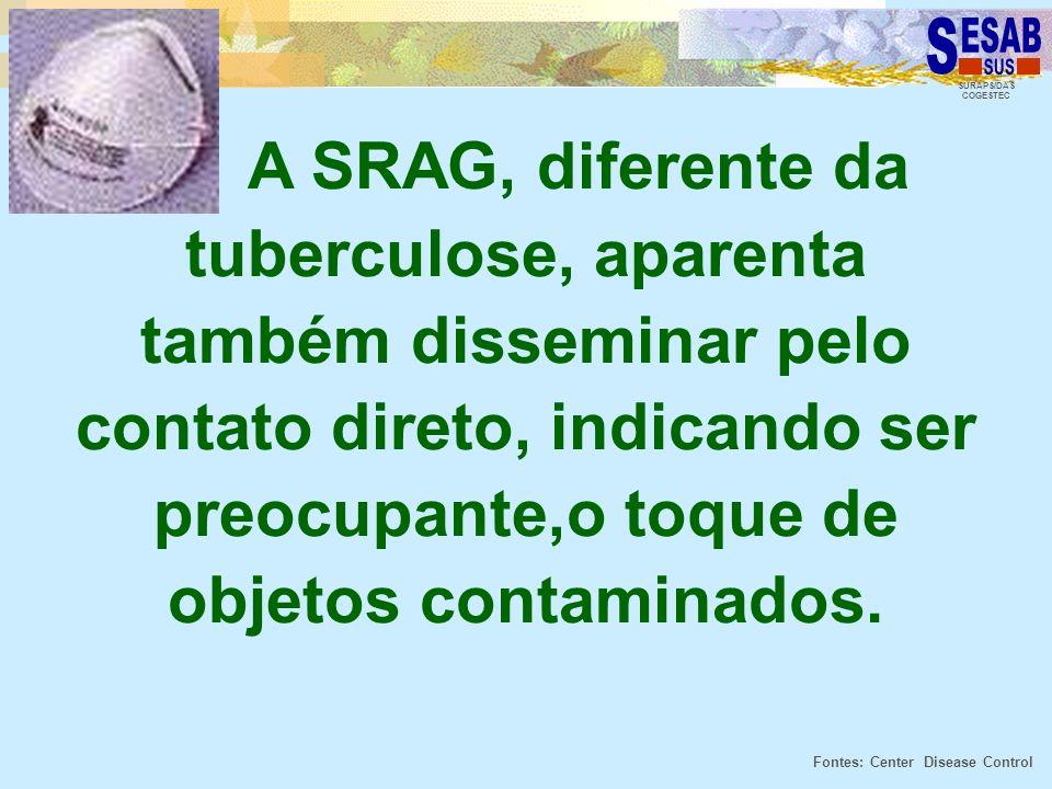 A SRAG, diferente da tuberculose, aparenta também disseminar pelo contato direto, indicando ser preocupante,o toque de objetos contaminados.