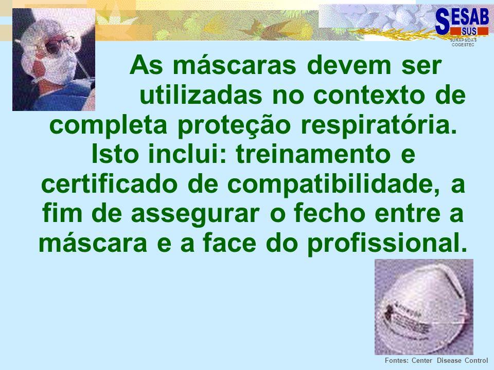 As máscaras devem ser utilizadas no contexto de completa proteção respiratória. Isto inclui: treinamento e certificado de compatibilidade, a fim de assegurar o fecho entre a máscara e a face do profissional.