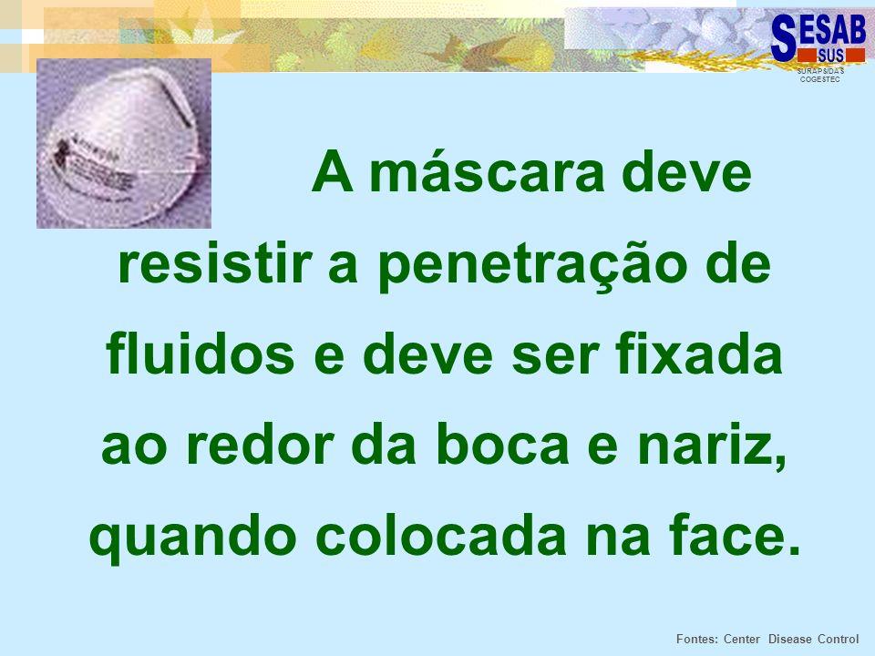 A máscara deve resistir a penetração de fluidos e deve ser fixada ao redor da boca e nariz, quando colocada na face.