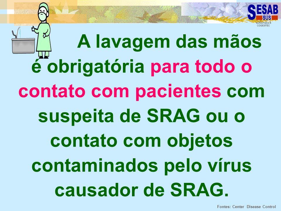 A lavagem das mãos é obrigatória para todo o contato com pacientes com suspeita de SRAG ou o contato com objetos contaminados pelo vírus causador de SRAG.