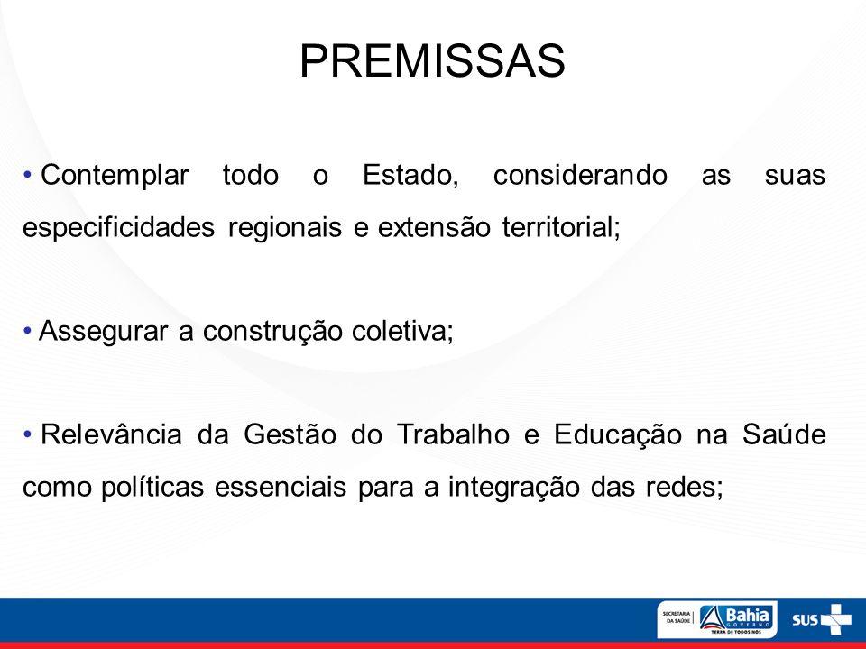 PREMISSAS Contemplar todo o Estado, considerando as suas especificidades regionais e extensão territorial;