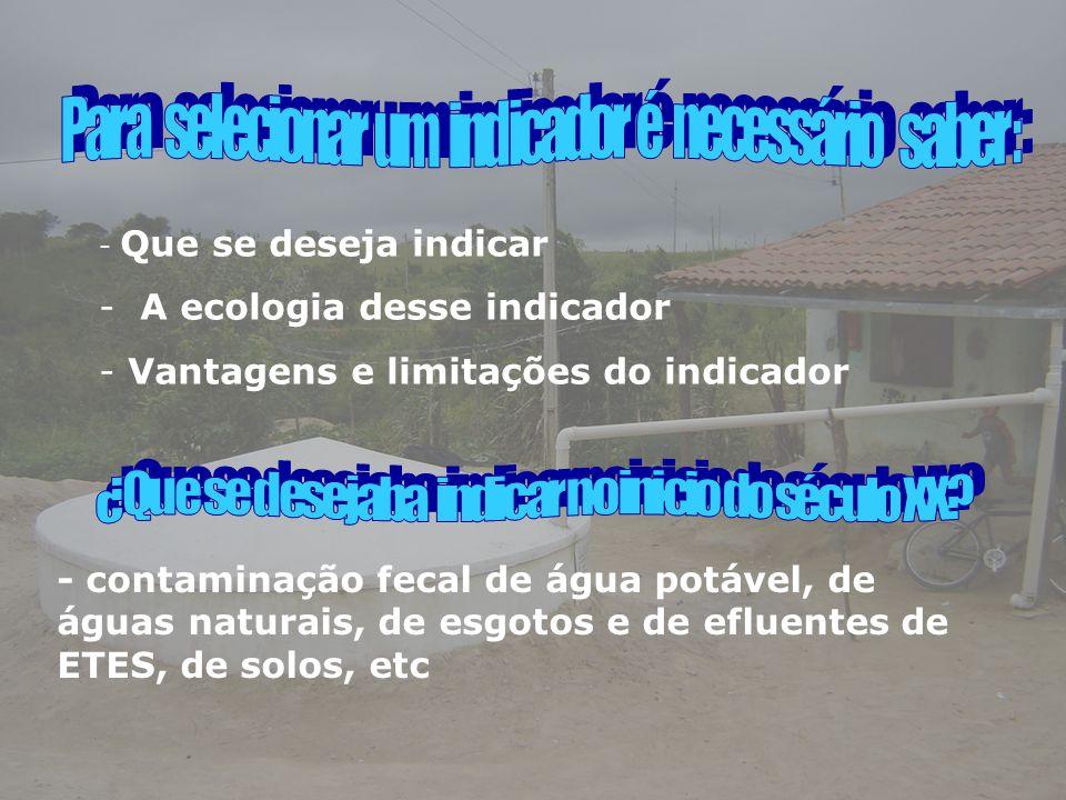 A ecologia desse indicador Vantagens e limitações do indicador