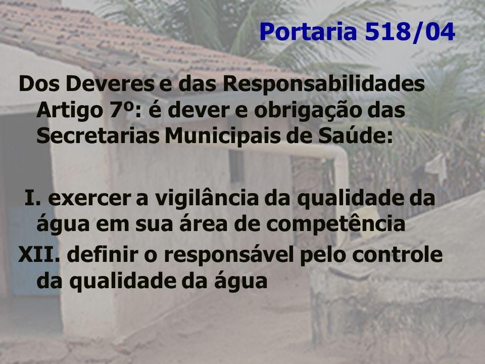 Portaria 518/04Dos Deveres e das Responsabilidades Artigo 7º: é dever e obrigação das Secretarias Municipais de Saúde: