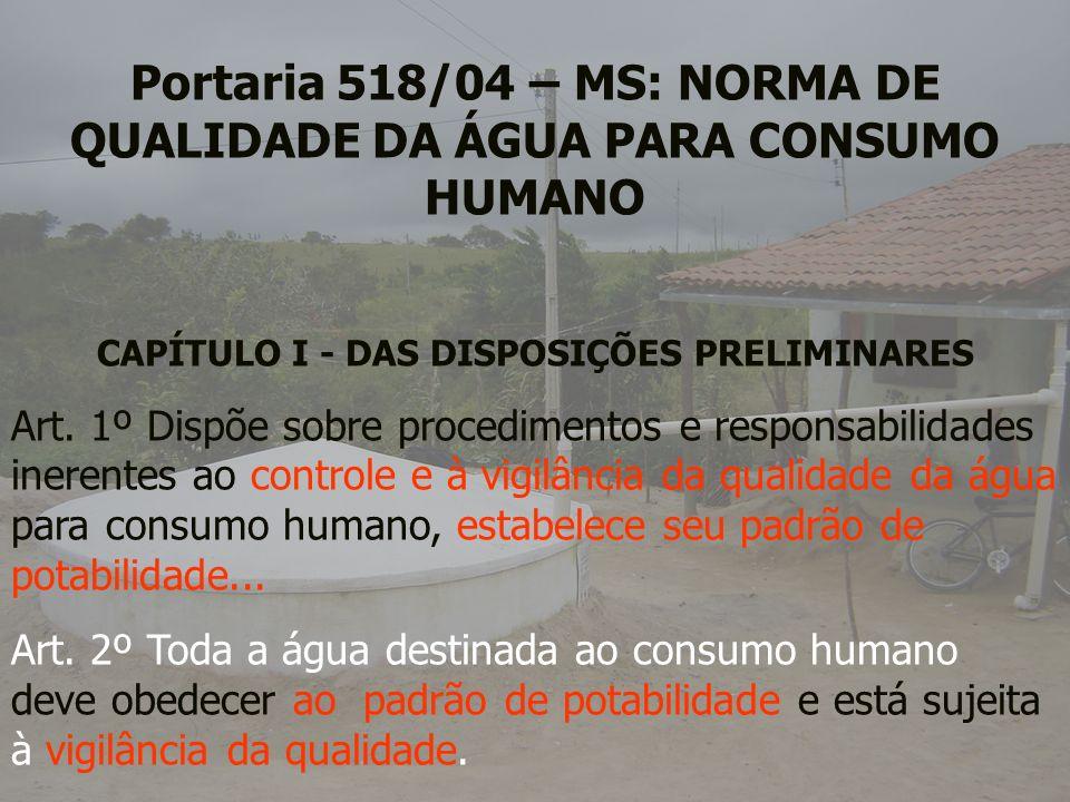 Portaria 518/04 – MS: NORMA DE QUALIDADE DA ÁGUA PARA CONSUMO HUMANO