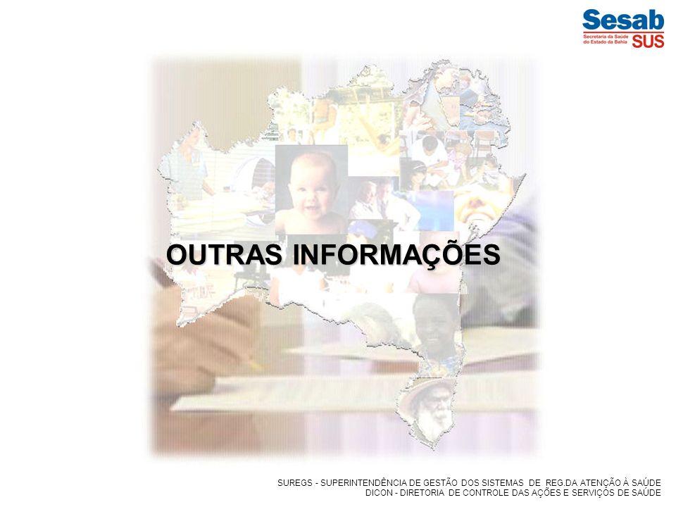 OUTRAS INFORMAÇÕES SUREGS - SUPERINTENDÊNCIA DE GESTÃO DOS SISTEMAS DE REG.DA ATENÇÃO À SAÚDE.