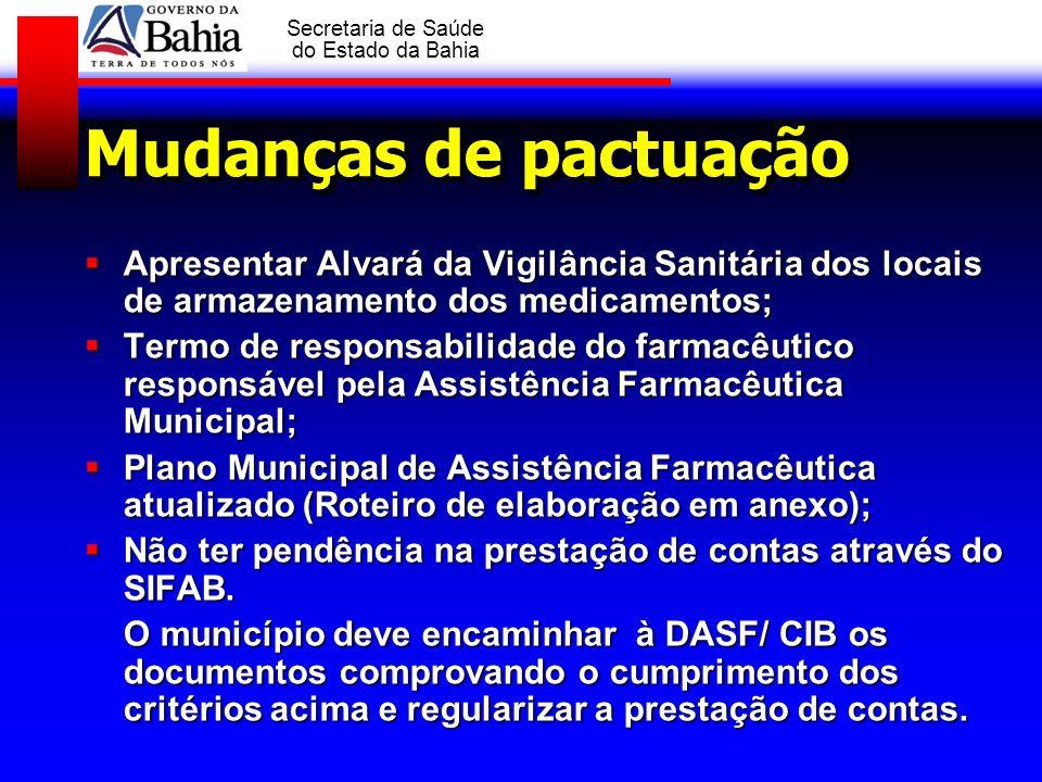 Mudanças de pactuação Apresentar Alvará da Vigilância Sanitária dos locais de armazenamento dos medicamentos;