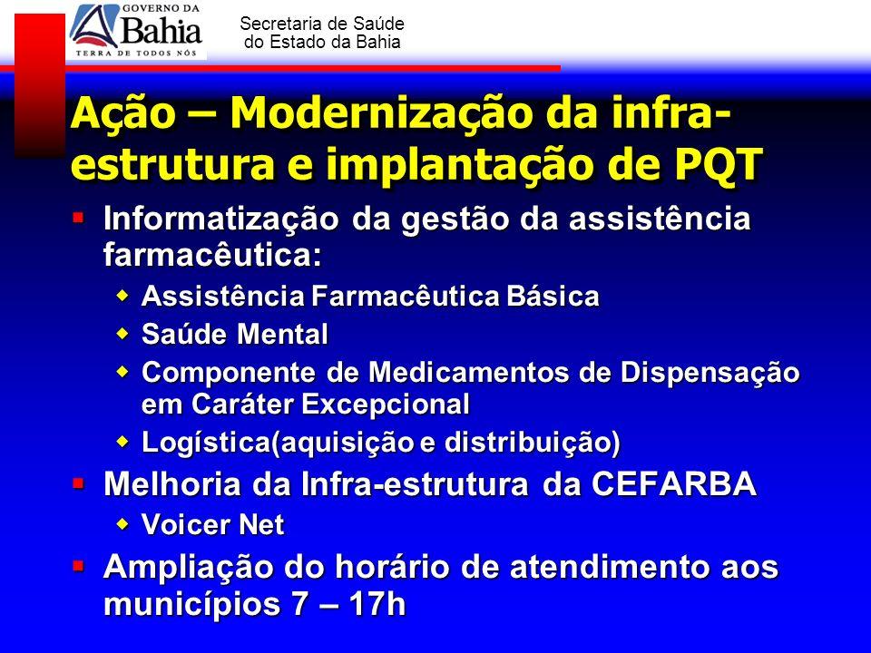 Ação – Modernização da infra-estrutura e implantação de PQT