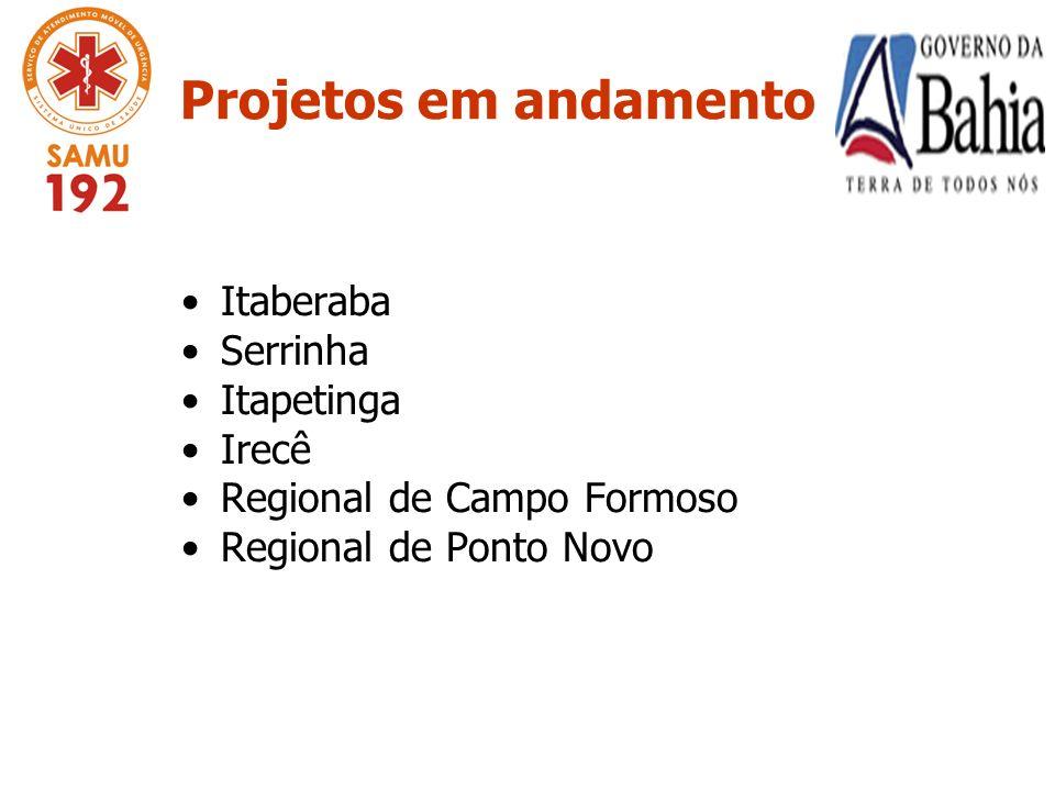 Projetos em andamento Itaberaba Serrinha Itapetinga Irecê