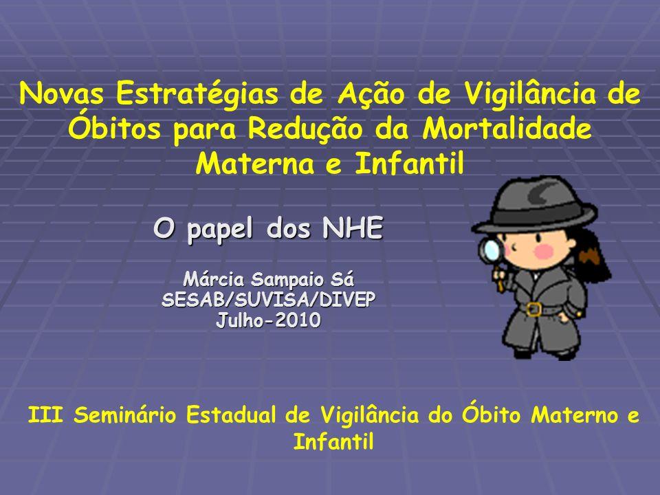 O papel dos NHE Márcia Sampaio Sá SESAB/SUVISA/DIVEP Julho-2010