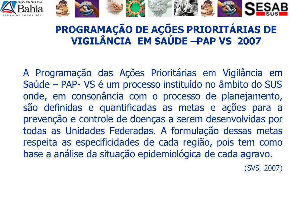 PROGRAMAÇÃO DE AÇÕES PRIORITÁRIAS DE VIGILÂNCIA EM SAÚDE –PAP VS 2007