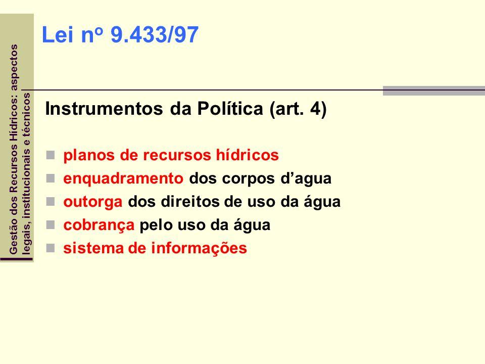 Lei no 9.433/97 Instrumentos da Política (art. 4)