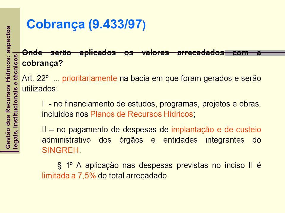 Cobrança (9.433/97) Onde serão aplicados os valores arrecadados com a cobrança