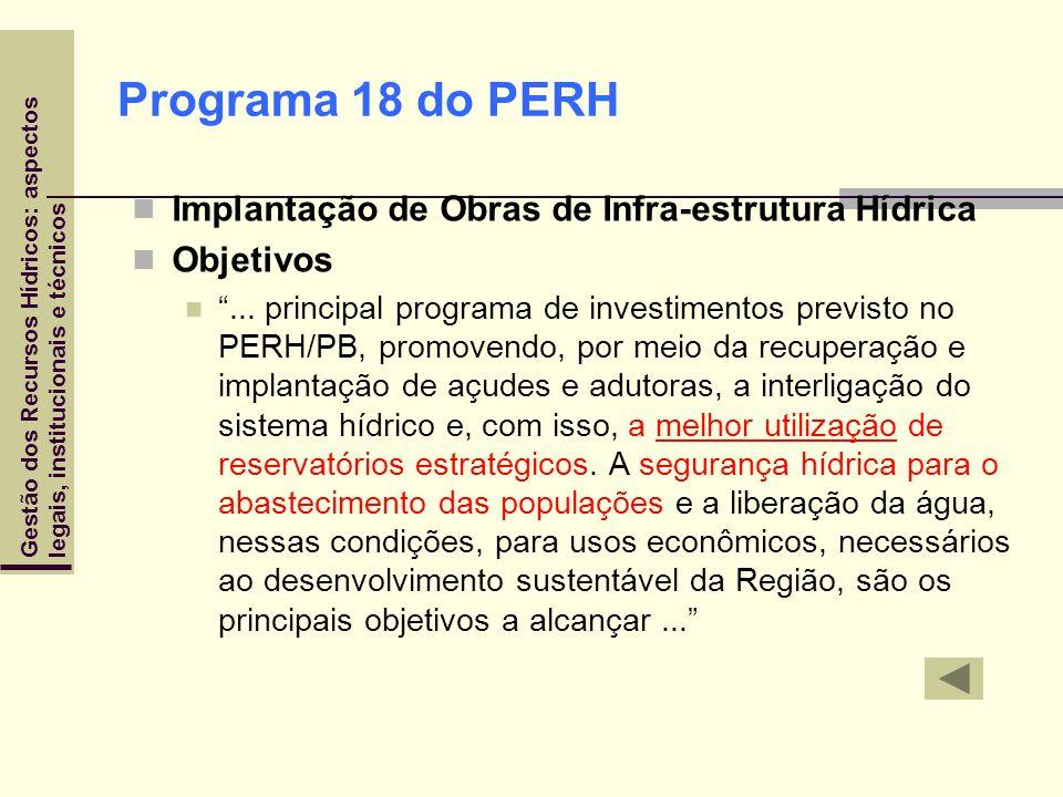Programa 18 do PERH Implantação de Obras de Infra-estrutura Hídrica