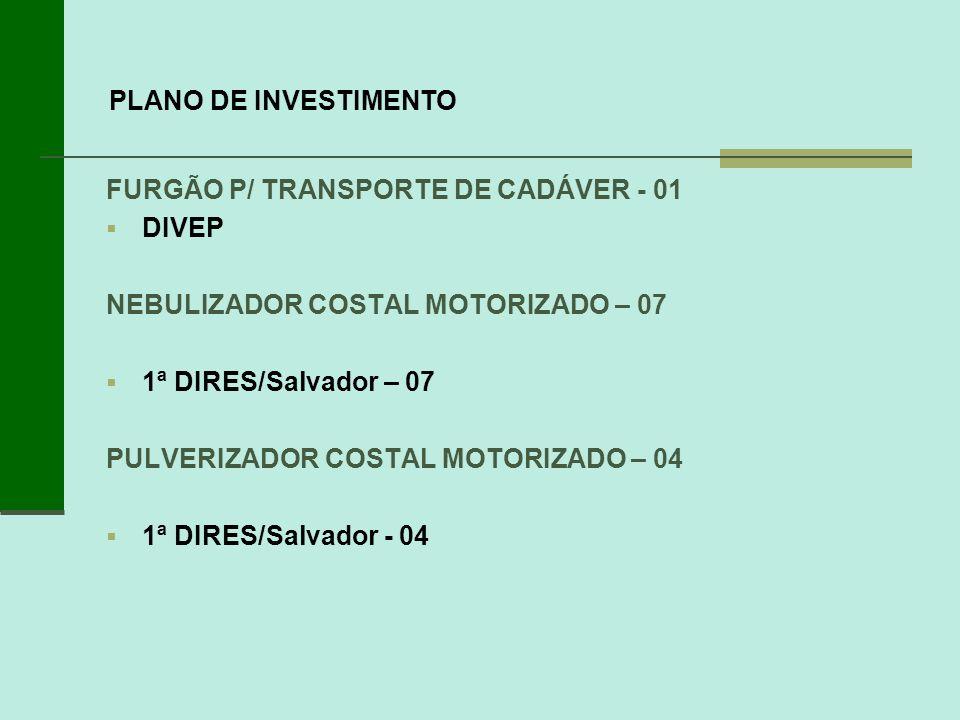 PLANO DE INVESTIMENTOFURGÃO P/ TRANSPORTE DE CADÁVER - 01. DIVEP. NEBULIZADOR COSTAL MOTORIZADO – 07.
