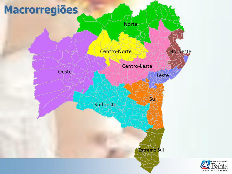 Macrorregiões Norte Centro-Norte Nordeste Centro-Leste Oeste Leste Sul