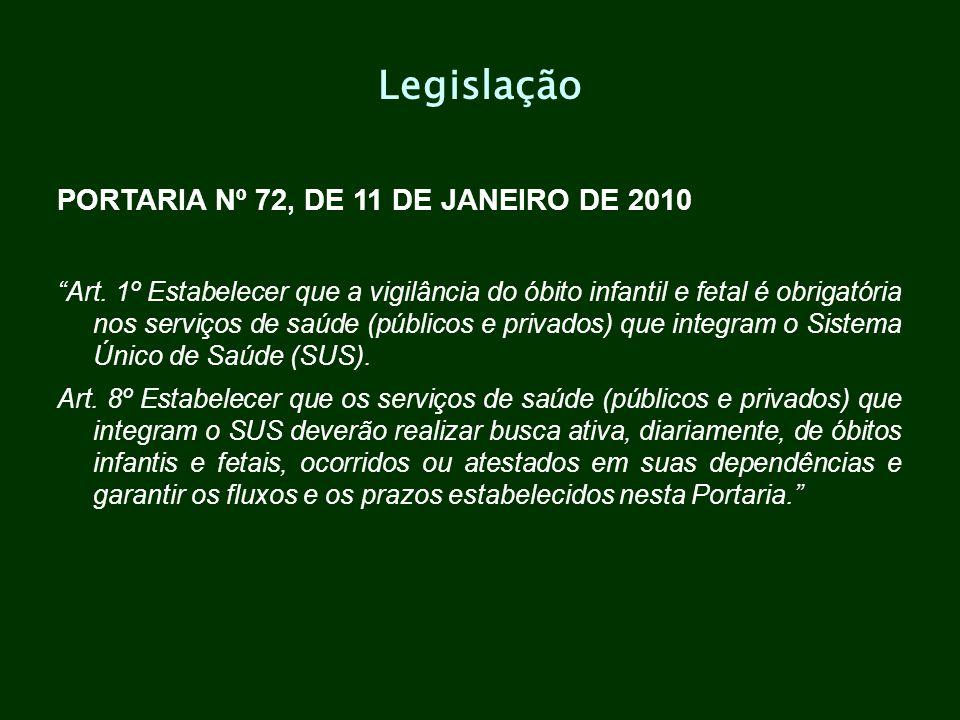 Legislação PORTARIA Nº 72, DE 11 DE JANEIRO DE 2010