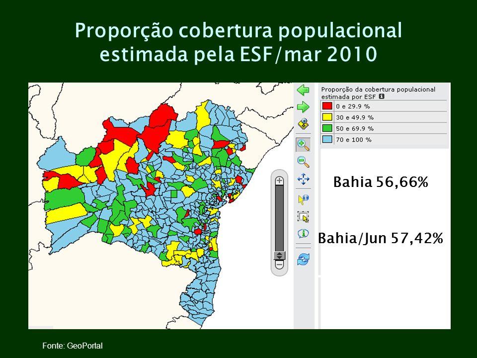 Proporção cobertura populacional estimada pela ESF/mar 2010